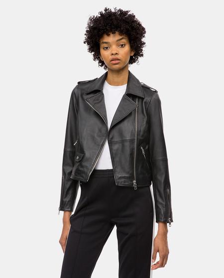 Cazadora De Cuero Negra Calvin Klein