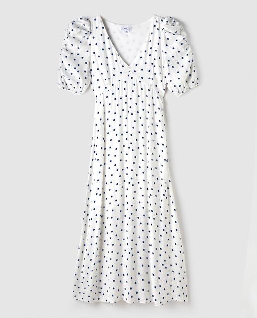 Vestido midi de lunares en blanco y negro