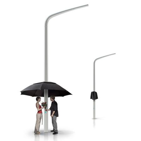 Viste a las farolas de tu ciudad con el paraguas Lampbrella