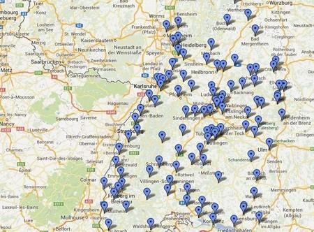 Mapa de estaciones GNC  de Alemania