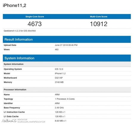 Geekbench Iphone X 2018 650x607