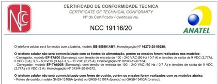 Documento Homologacion Anatel Samsung Galaxy S21 Brasil Sin Cargador Audifonos Caja