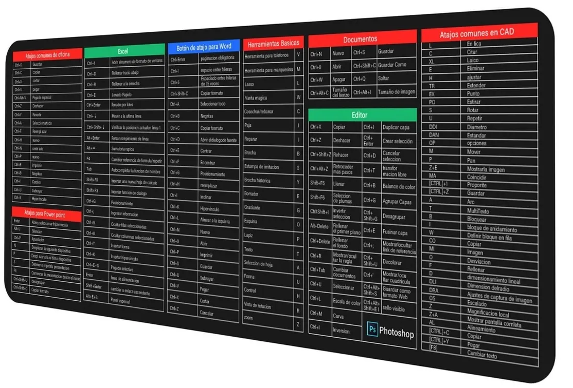 Mouse pad extra grande para juegos, antideslizante, impermeable con atajos de teclado para diferentes programas