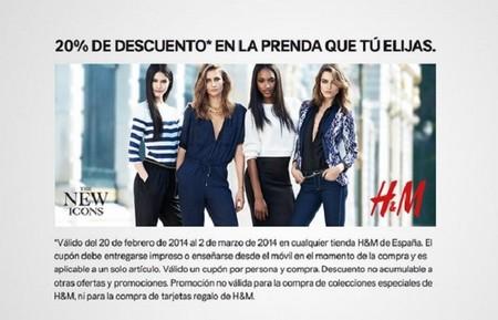 20 % de descuento en la prenda que tú quieras de H&M