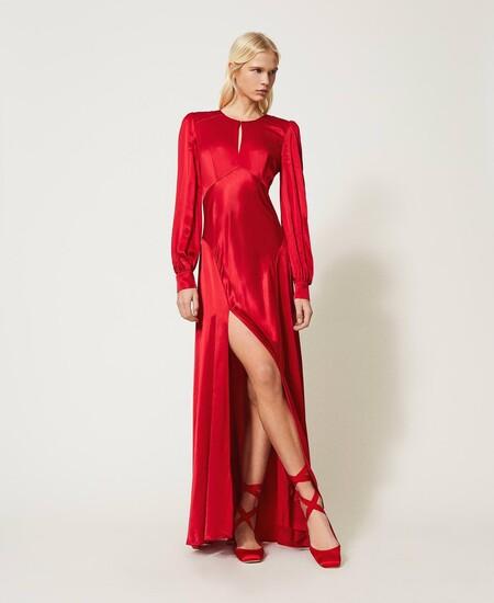 Vestido Largo De Raso Rojo Cereza Mujer Vestidos TwinsetVestido largo de raso