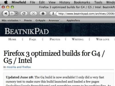Versión optimizada de Firefox 3 ahora disponible para procesadores G4