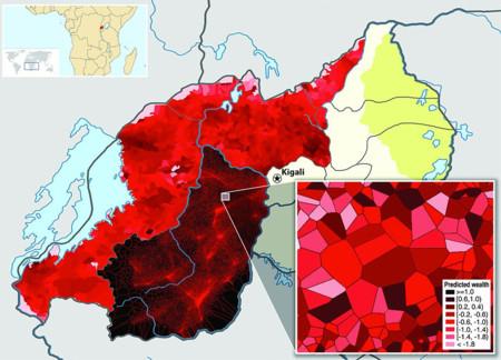 Mapa de predicción del nivel económico de Rwanda