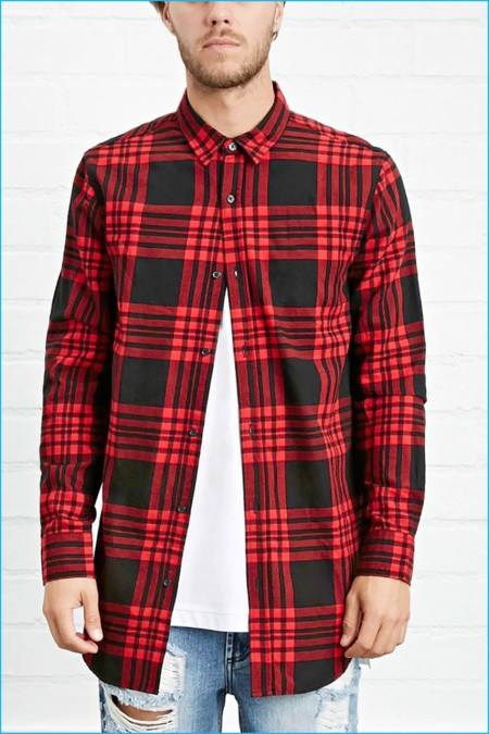 Forever 21 Men Side Zip Plaid Flannel Shirt