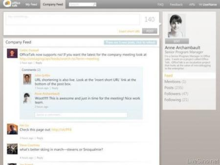 "Office Talk, el ""Twitter para empresas"" que plantea Microsoft"