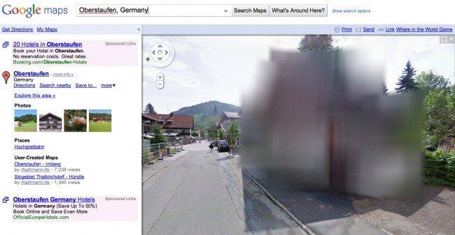 google street view muestra pixels como viviendas