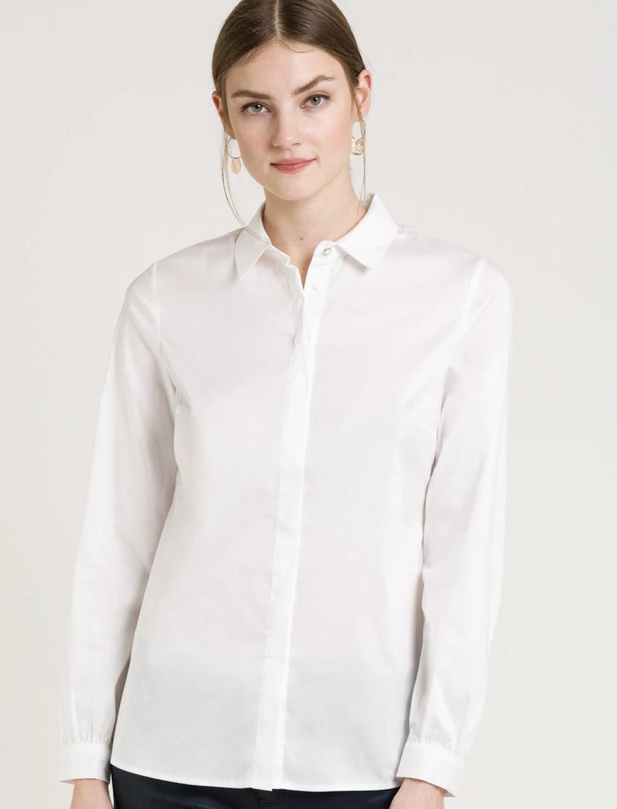 Camisa de mujer de manga larga con botones ocultos