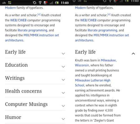 Nueva versión móvil de Wikipedia