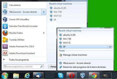 Ejecutar tus máquinas virtuales desde el menú de Windows 7