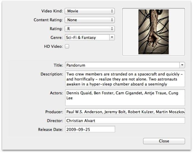 Metadata en RoadMovie, información