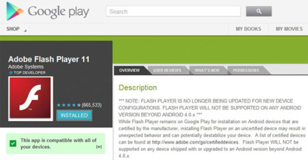 Flash en Google Play