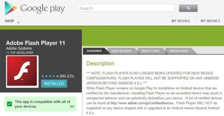 Flash en Google Play