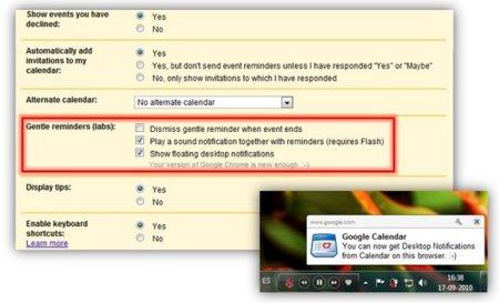 Google Calendar agrega notificaciones de escritorio con sonido