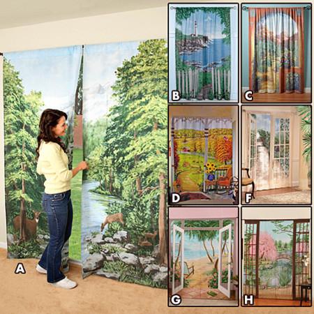 Outdoor View Curtains, cortinas con paisajes