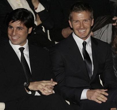 Fran Rivera y David Beckham, dos amigos en el desfile de Armani