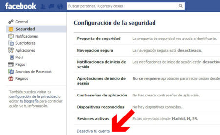 Baja Facebook, paso 2