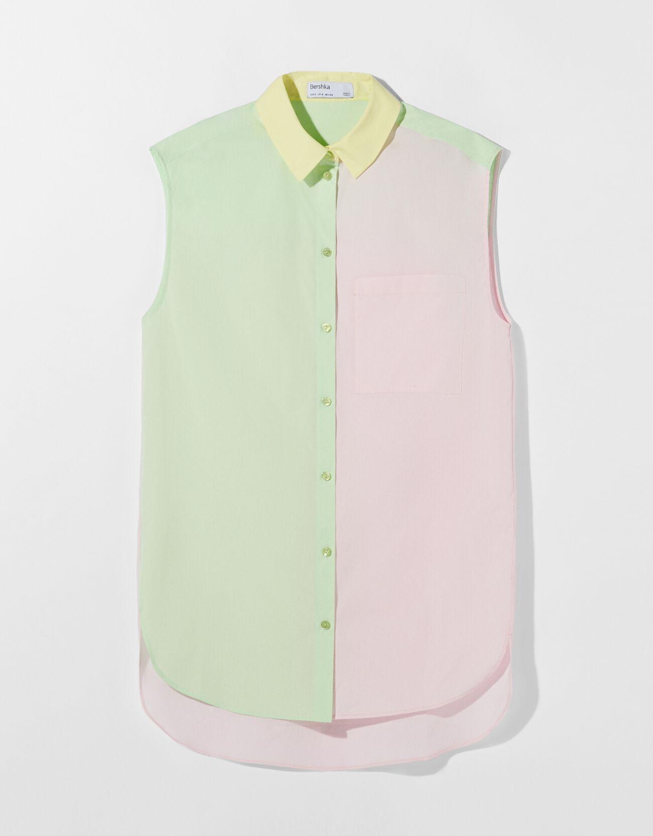 Camisa sin mangas oversize popelín color block.