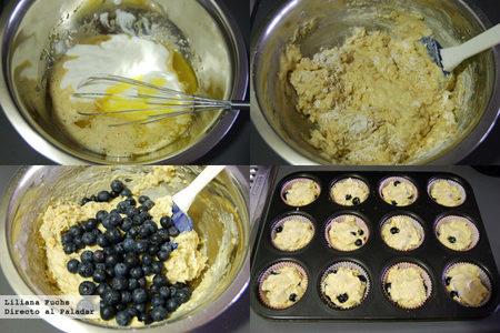 Muffins de arándanos. Paso a paso