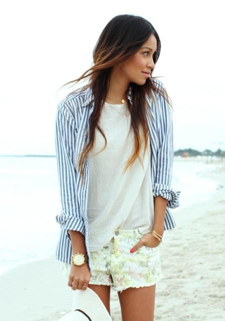 Camisa Azul Rayas Tendencia Verano 2015 3