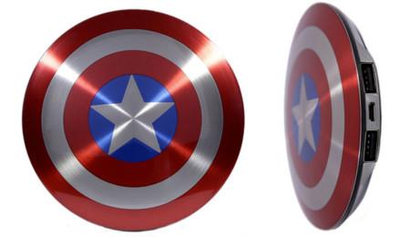 Batería con forma de escudo del Capitán América