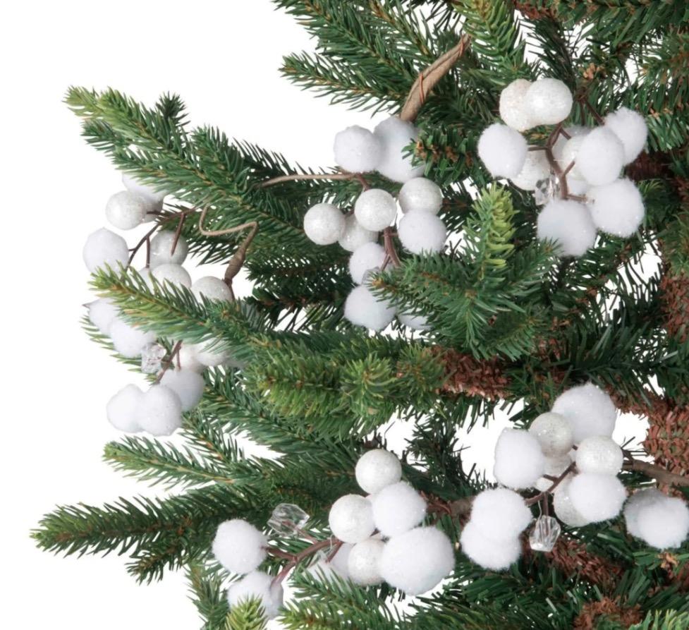Guirnalda de Navidad con bolas de nieve blancas L.110