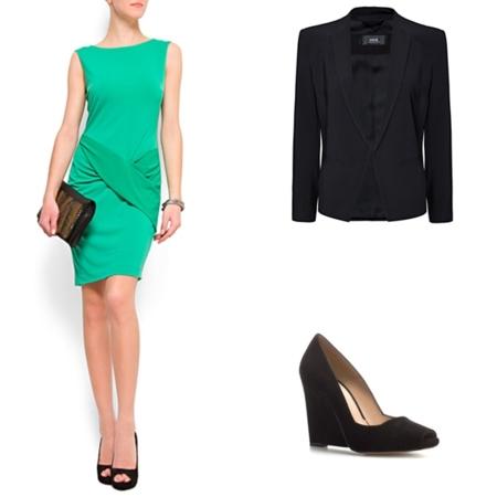vestido verde trabajo