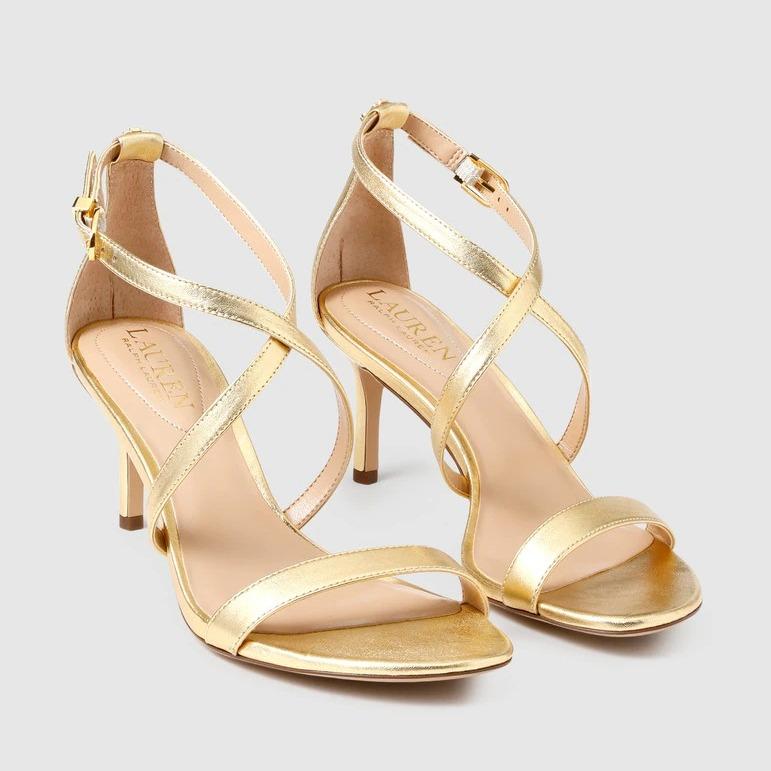Sandalias de tacón de mujer Lauren Ralph Lauren de piel en color oro