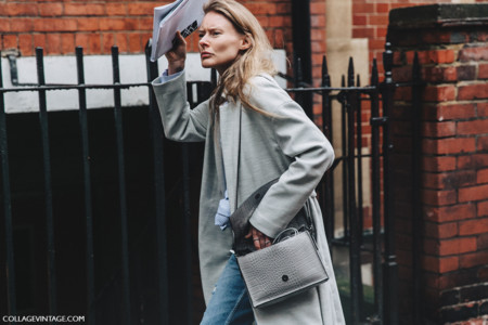 Lfw London Fashion Week Fall 16 Street Style Collage Vintage Grey Coat Maxi Coat White Sneakers 6
