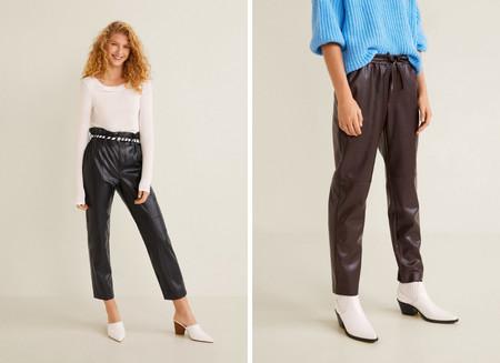 pantalones cuero lowcost mango