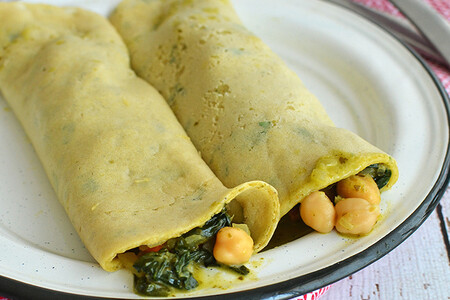 Crepas veganas rellenas de curry verde. Receta