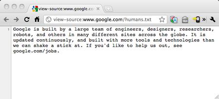 Google hace un curioso guiño al fichero humans.txt