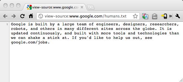 google humans txt