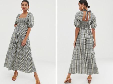 Vestido Largo De Sirsaca Con Frunces En El Corpino Y Estampado De Cuadros De Asos Design