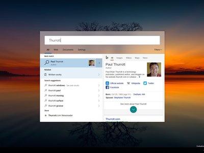 Microsoft está probando una nueva interfaz de búsqueda para Windows 10 similar a Spotlight de macOS