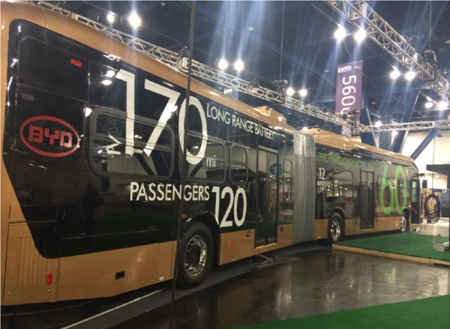 Un autobús articulado de BYD es el vehículo eléctrico más grande con baterías