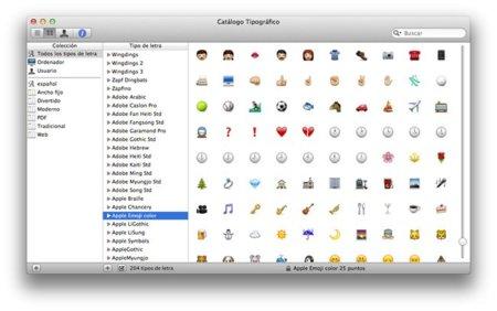 [Especial Mac OS X Lion] Novedades del Catálogo Tipográfico, ahora con emojis