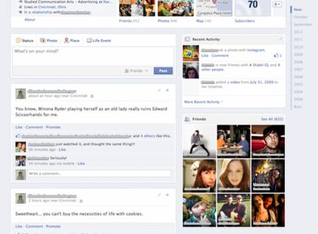 Facebook prueba una versión de la biografía con una sola columna