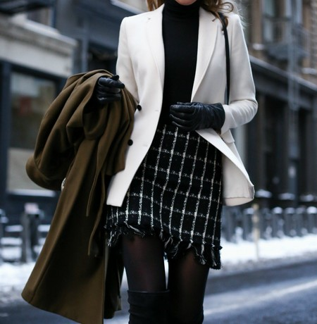 Black White Check Mini Skirt Tory Burch Turtleneck Tights Over The Knee Boots Stuart Weitzman Double Breasted Blazer Trench Coat Classic Style10 680x695 2x