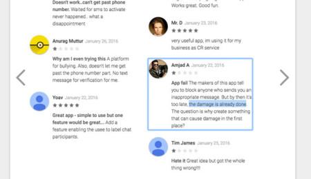 Comentarios en Google Play Store de Blindspot