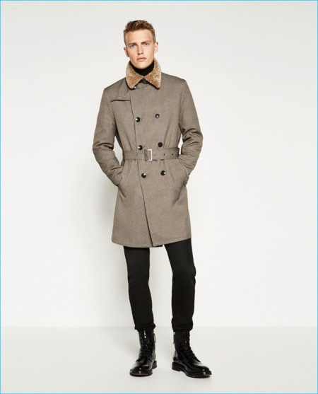 Zara Man Double Breasted Military Style Coat