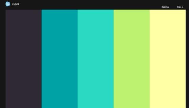 kuler eligiendo paletas de colores