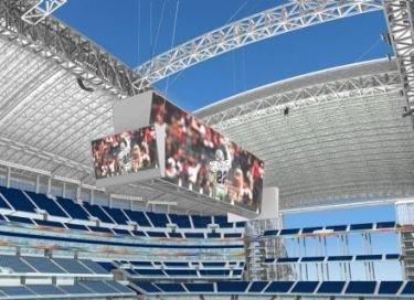 La pantalla más grande en el estadio de los Cowboys de Dallas