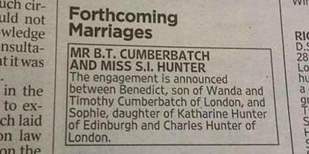 Benedict Cumberbatch Sophie Hunter Engaged Doc