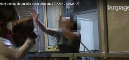 La reacción de una señora napolitana cuando le llevan una pizza con piña por error