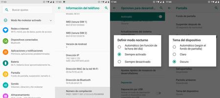 Activando el manera oscuro permanente en Android™ Pie