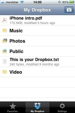 Interfaz de Dropbox en el iPhone